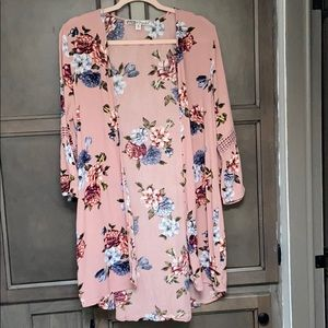Pink floral kimono